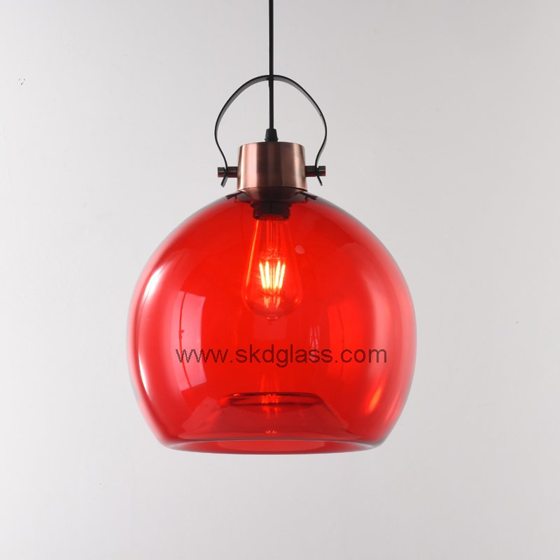 Red big blowing glass pendant lights